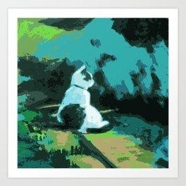 Cat Awaits Art Print