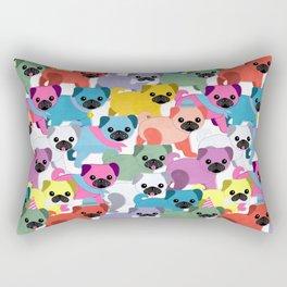 Colored Pugs Pattern - no1 Rectangular Pillow