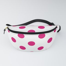 XX Large Dark Hot Pink Polka Dots on White Fanny Pack