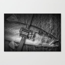 """Black and White of """"Catch of the Day"""" a Steelhead Trout Fishing Still life Canvas Print"""
