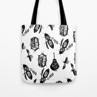 insects Tote Bags featuring INSECTS by D E  W I L D E