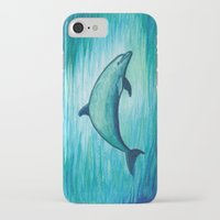 psychadelic iPhone & iPod Cases featuring Indigo Lagoon ~ Dolphin Watercolor by Amber Marine