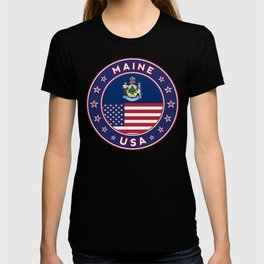 Maine, Maine t-shirt, Maine sticker, circle, Maine flag, white bg T-shirt