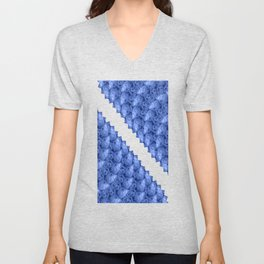 Fluid Abstract 41; Blue, Black and White Unisex V-Neck