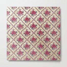Checked Rose Pattern Metal Print