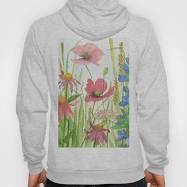 Watercolor Garden Flower Poppies Lupine Coneflower Wildflower Hoody