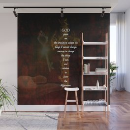 Serenity Prayer Inspirational Quote With Beautiful Christian Art Wall Mural