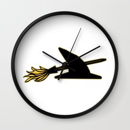 Witch Hat & Broomstick Wall Clock
