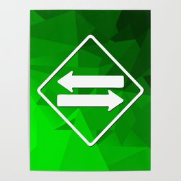 Triangles in different shades of green and two white arrows Poster
