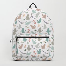 Sitting Cat with Flowers in Pink Backpack