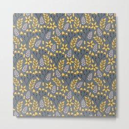 Yellow Floral Gray Metal Print