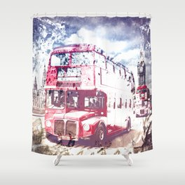 City-Art LONDON Red Buses on Westminster Bridge Shower Curtain