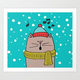 Singing cat 2 Art Print