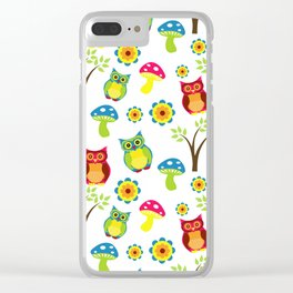 Cute Little Forest Owls Pattern Clear iPhone Case