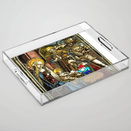 Will the Wandering Gnome Shares a White Hat with Jesus (Gnome Art) (Christmas Art) Acrylic Tray