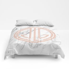 great Gatsby rose gold black and white marble Comforters