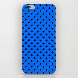 Black on Brandeis Blue Stars iPhone Skin