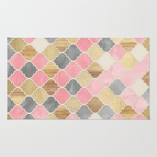 silver grey, soft pink, wood & gold moroccan pattern rug by