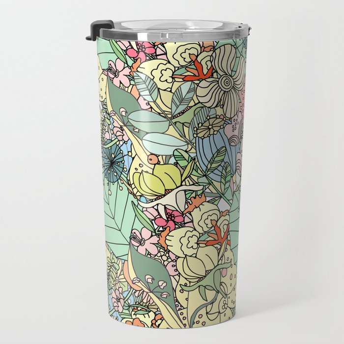Nature Bloom Pattern Travel Mug