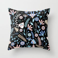 Folk floral pattern / pastel on black Throw Pillow