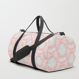 Shabby elegant coral ivory pastel blue floral damask Duffle Bag