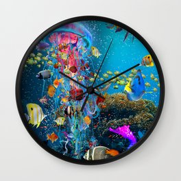 Electric Jellyfish at a Reef Wall Clock