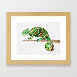Green Chameleon Dreams Framed Art Print