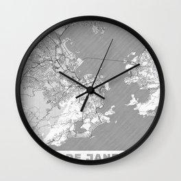 Rio de Janerio Map Line Wall Clock