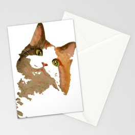 I'm All Ears - Cute Calico Cat Portrait Stationery Cards