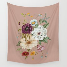 Colorful Wildflower Bouquet on Pink Wall Tapestry