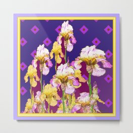 Iris Garden In Shades Of Purple Metal Print