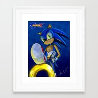 sonic Framed Art Prints featuring Sonic by amanda.scopel