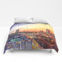 Sunset in Warsaw Comforters