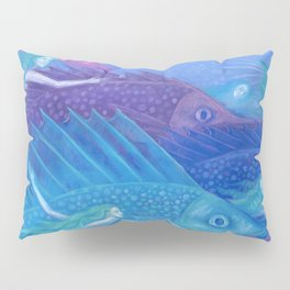 Ocean Nomads, Mermaids and Fish, Blue Pink Purple Pillow Sham