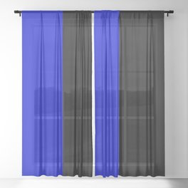 Psychedelic black and blue stripes V. Sheer Curtain
