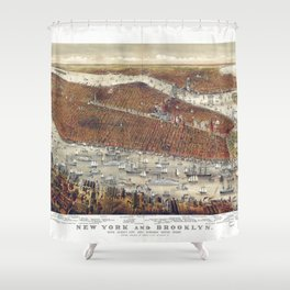 Aerial View of New York and Brooklyn, with Jersey City and Hoboken water front (1877) Shower Curtain