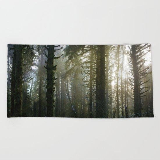 Foggy Forest #evergreen Beach Towel
