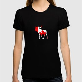 Canada Moose With Canada Flag Skin Maple Leaf T-shirt