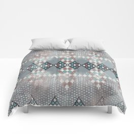 blurry diamond geo in pale teal and ochre Comforters