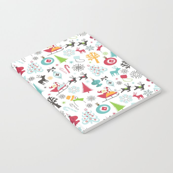 Retro Santa Holiday Christmas Pattern Notebook