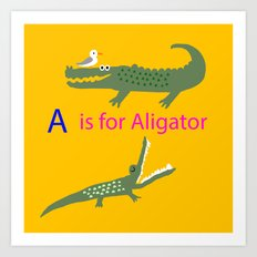 A is for Aligator Art Print