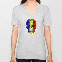 Sugar Skull with Roses and Flag of Romania Unisex V-Neck
