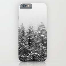 Black and White Snowy Pine trees iPhone 6s Slim Case