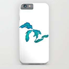watercolor Great Lakes iPhone Case