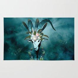 The billy goat  skull Rug