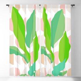 Sunny Banana leaves on Mid Century Modern pattern Blackout Curtain
