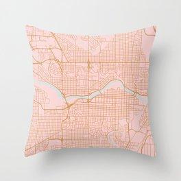 Calgary map, Canada Throw Pillow