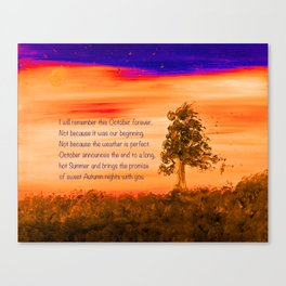 """""""Remembering October"""" Painting with poem Canvas Print"""