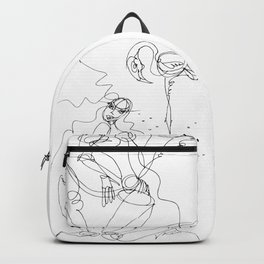 Woman with Flamingo Backpack