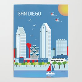 San Diego, California - Skyline Illustration by Loose Petals Poster